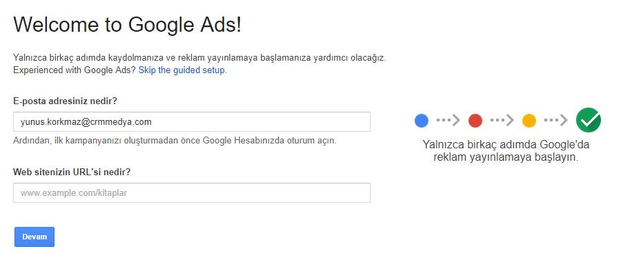 Adım 1: Google Kelime Planlayıcısına Giriş Yapın