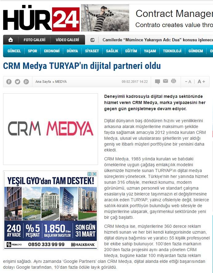 """""""CRM Medya TURYAP'ın dijital partneri oldu!""""HÜR24"""