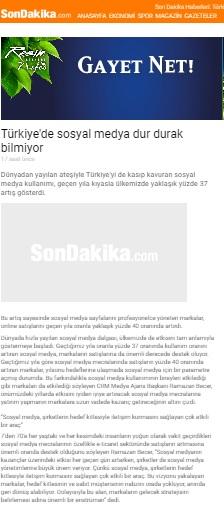 """""""Türkiye'de sosyal medya dur durak bilmiyor""""sondakika.com"""