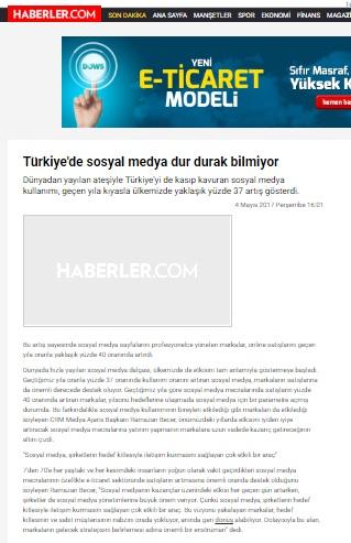"""""""Türkiye'de sosyal medya dur durak bilmiyor""""HABERLER.COM"""