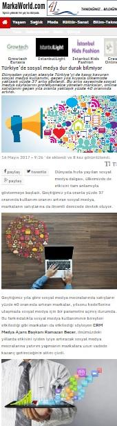 """""""Türkiye'de sosyal medya dur durak bilmiyor""""Markaworld.com"""