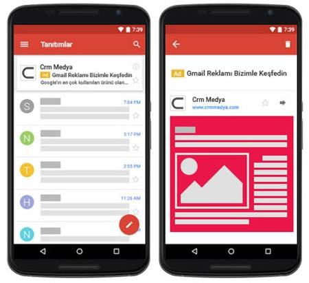 mobil gmail reklamları