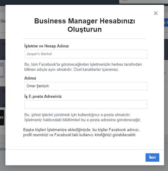 facebook business manager hesabı oluşturma