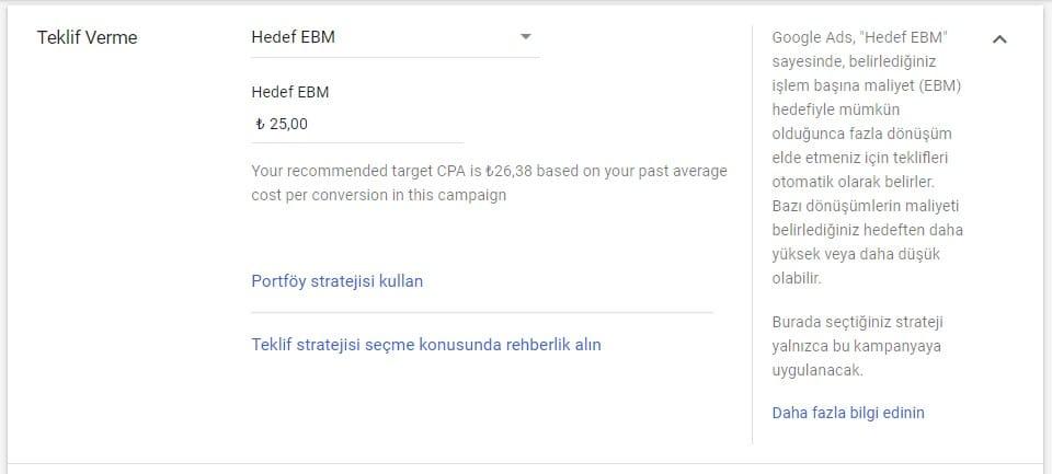 google ads hedef edinme başına maliyet(hedef ebm)