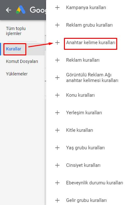 google otomatik kurallar