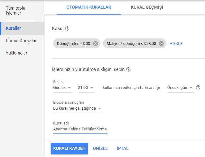 google otomatik kural oluşturma ayarları