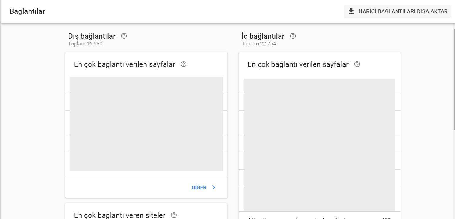 google search console bağlantılar