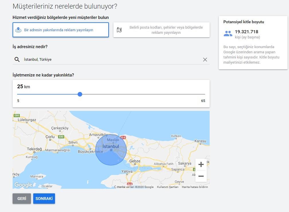 google ads lokasyon ayarları